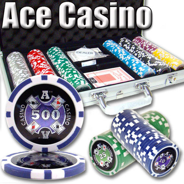 300 Ace Casino Poker Chip Set with Aluminum Case