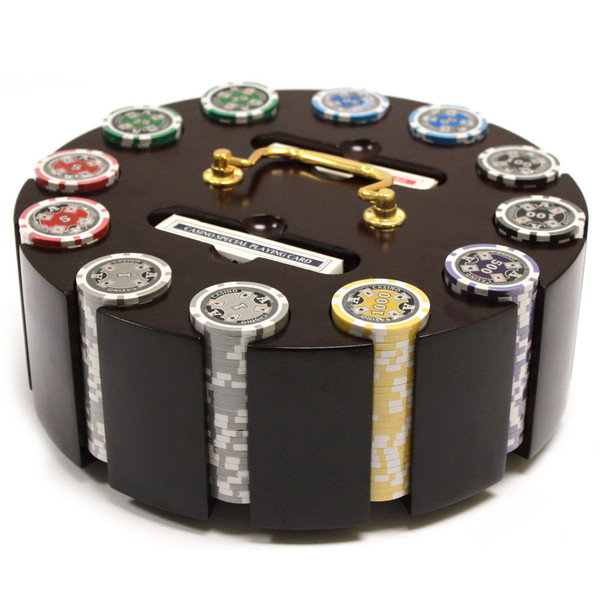 300 Ace Casino Poker Chip Set with Wooden Carousel