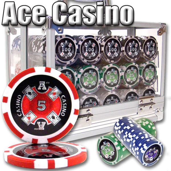 600 Ace Casino Poker Chip Set with Acrylic Carrying Case