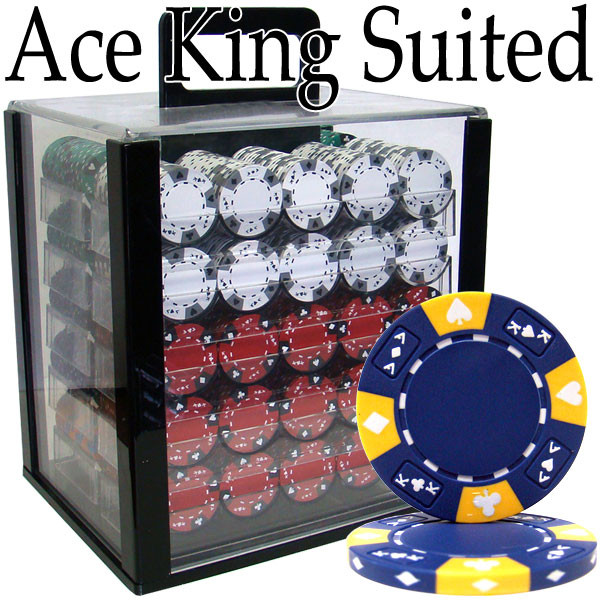 1,000 Chip Ace King Suited Poker Chip Set with Acrylic Carrying Case