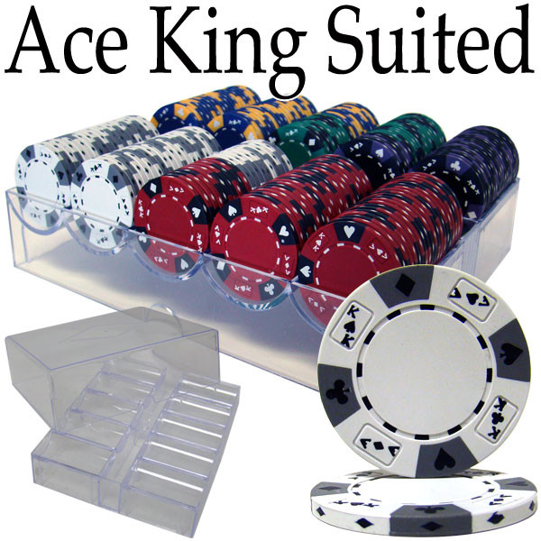 200 Ace King Suited Poker Chip Set with Acrylic Tray