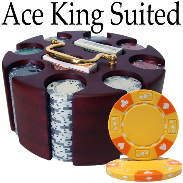 200 Ace King Suited Poker Chip Set with Carousel
