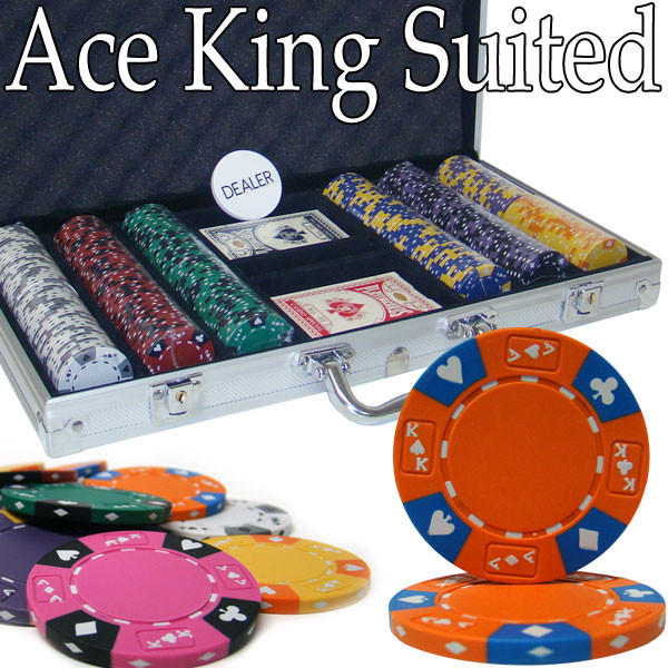 300 Ace King Suited Poker Chip Set with Aluminum Case