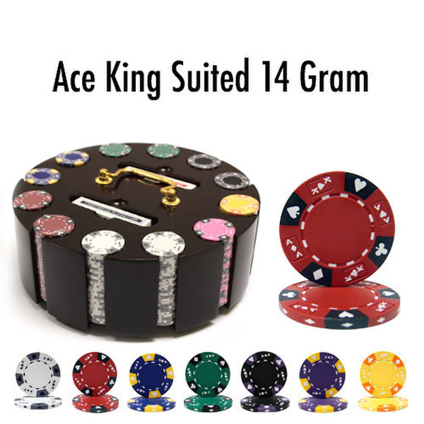 300 Ace King Suited Poker Chip Set with Wooden Carousel