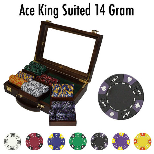300 Ace King Suited Poker Chip Set with Walnut Case