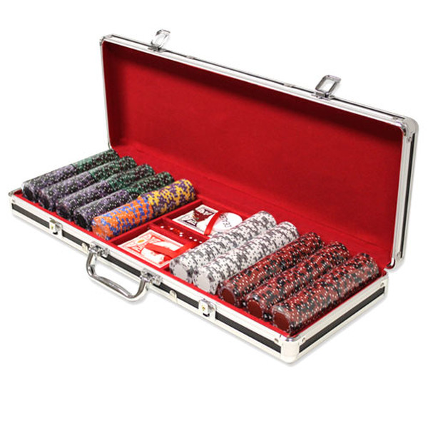 500 Ace King Suited Poker Chip Set with Black Aluminum Case