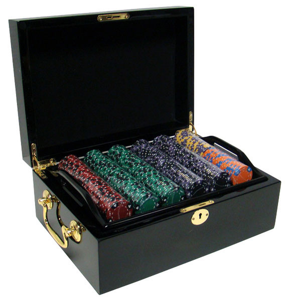 500 Ace King Suited Poker Chip Set with Black Mahogany Case