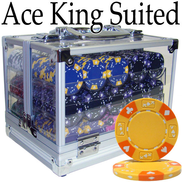 600 Ace King Suited Poker Chip Set with Acrylic Carrying Case