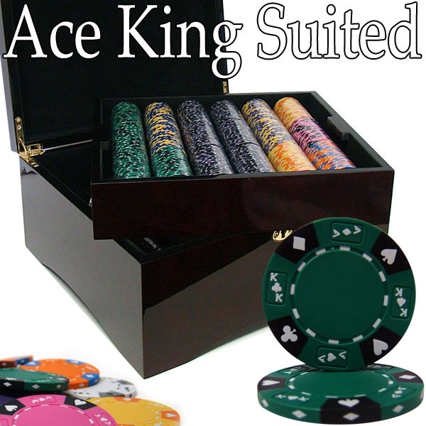 750 Ace King Suited Poker Chip Set with Mahogany Case