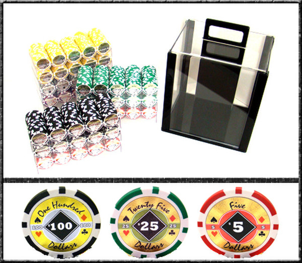 1,000 Black Diamond Poker Chip Set with Acrylic Carrying Case
