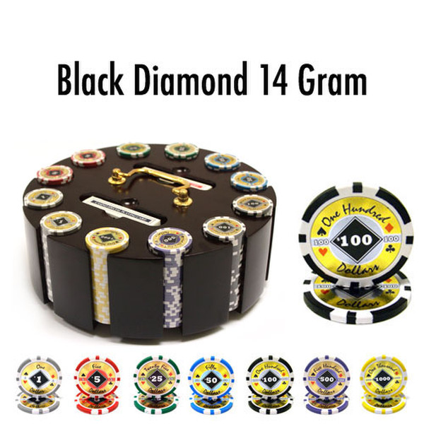 300 Black Diamond Poker Chip Set with Wooden Carousel