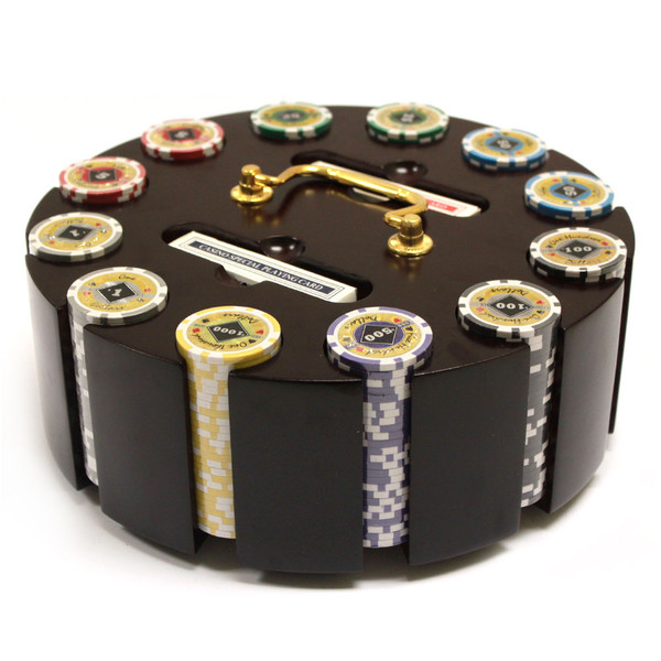 300 Black Diamond Poker Chip Set with Wooden Carousel