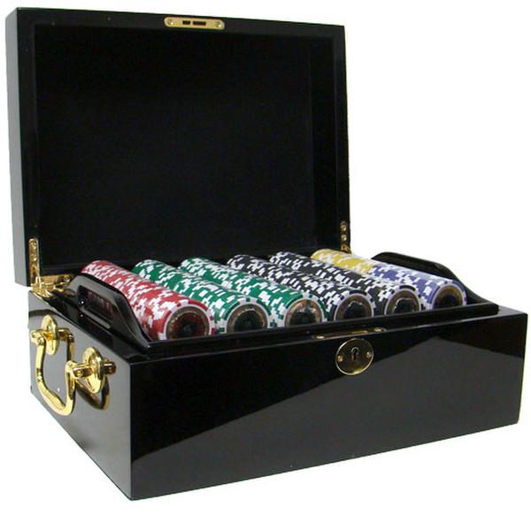 500 Black Diamond Poker Chip Set with Black Mahogany Case