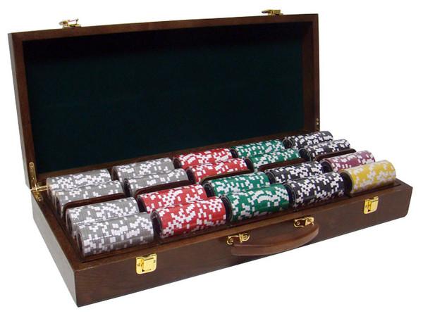 500 Black Diamond Poker Chip Set with Walnut Case