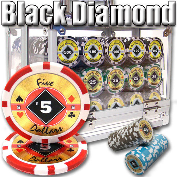 600 Black Diamond Poker Chip Set with Acrylic Carrying Case