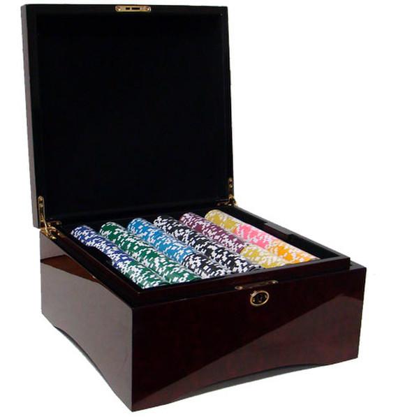 750 Black Diamond Poker Chip Set with Mahogany Case