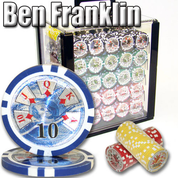 1,000 Ben Franklin Poker Chip Set with Acrylic Carrying Case