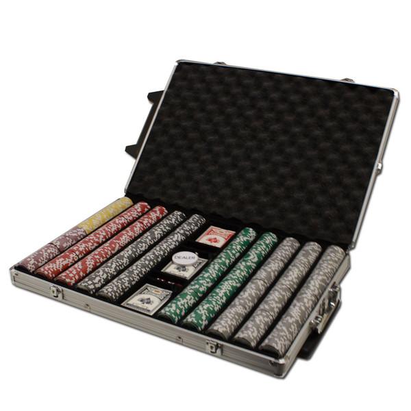1,000 Ben Franklin Poker Chip Set with Rolling Case