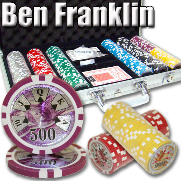 300 Ben Franklin Poker Chip Set with Aluminum Case