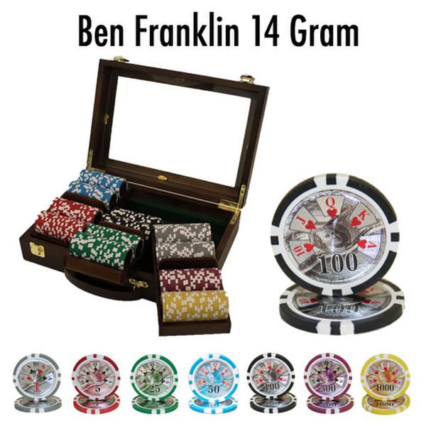 300 Ben Franklin Poker Chip Set with Walnut Case
