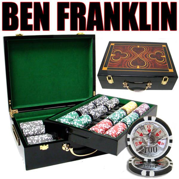 500 Ben Franklin Poker Chip Set with Hi Gloss Case