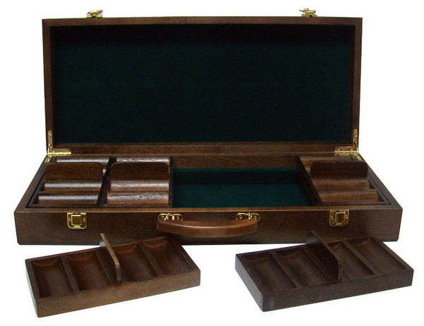 500 Ben Franklin Poker Chip Set with Walnut Case