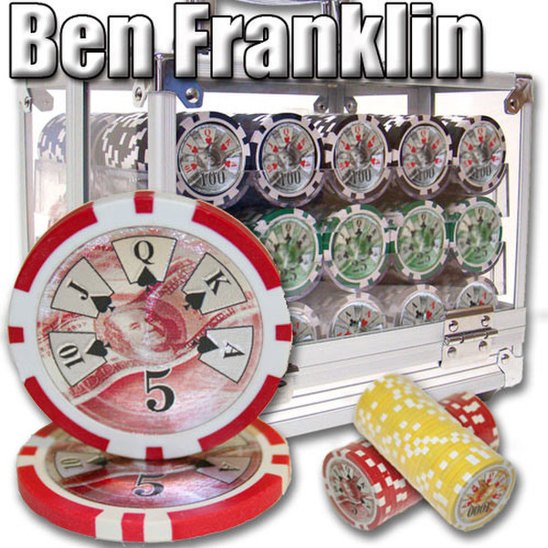 600 Ben Franklin Poker Chip Set with Acrylic Carrying Case