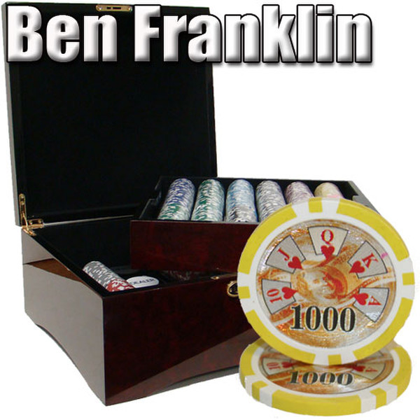 750 Ben Franklin Poker Chip Set with Mahogany Case