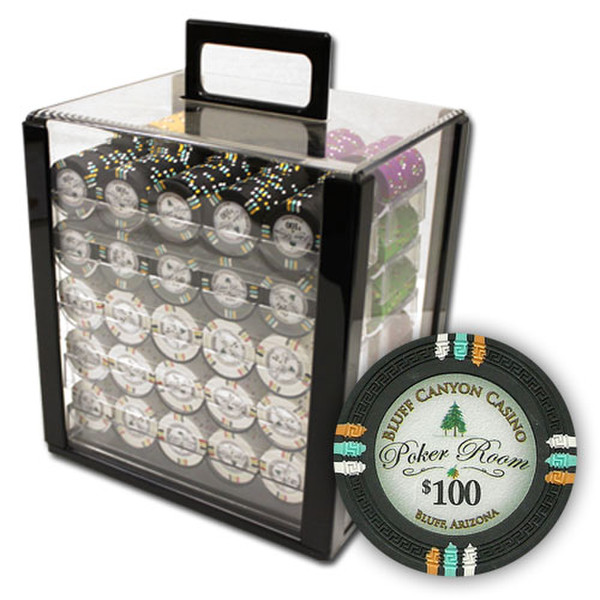 1,000 Bluff Canyon Poker Chip Set with Acrylic Carrying Case