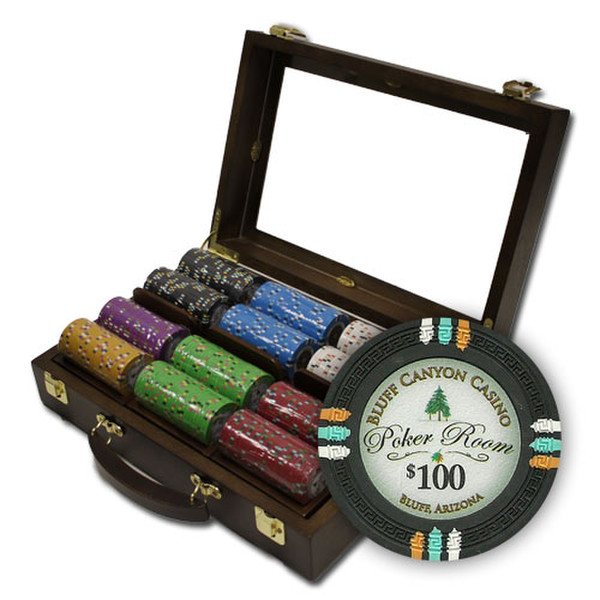 300 Bluff Canyon Poker Chip Set with Walnut Case