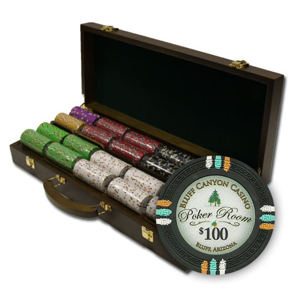 500 Bluff Canyon Poker Chip Set with Walnut Case