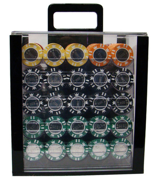 1,000 Coin Inlay Poker Chip Set with Acrylic Carrying Case