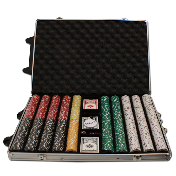 1,000 Coin Inlay Poker Chip Set with Rolling Case