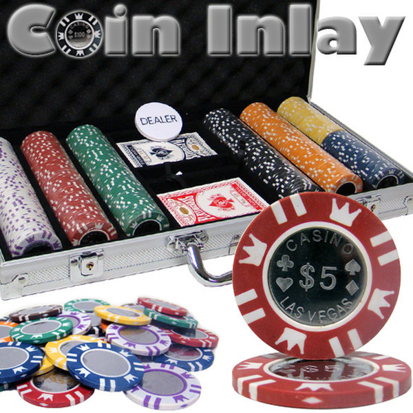 300 Coin Inlay Poker Chip Set with Aluminum Case