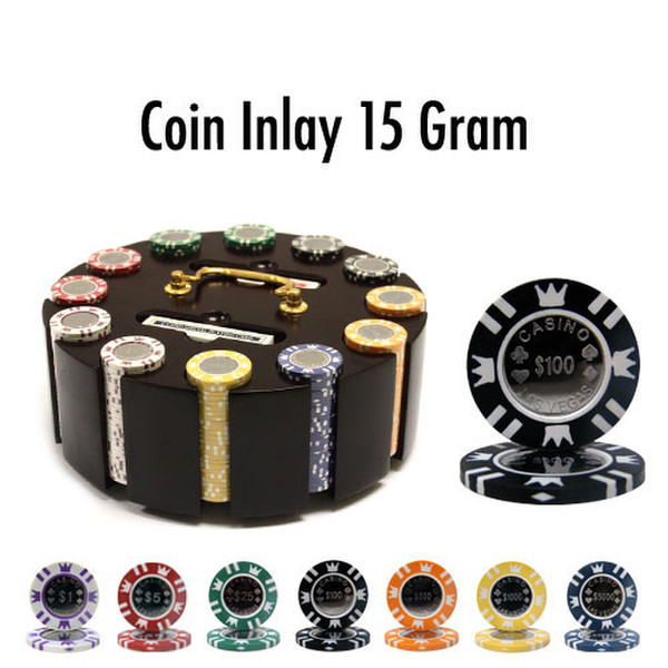 300 Coin Inlay Poker Chip Set with Wooden Carousel