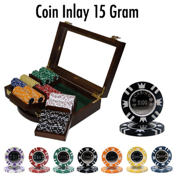 300 Coin Inlay Poker Chip Set with Walnut Case