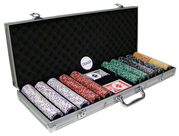 500 Coin Inlay Poker Chip Set with Aluminum Case
