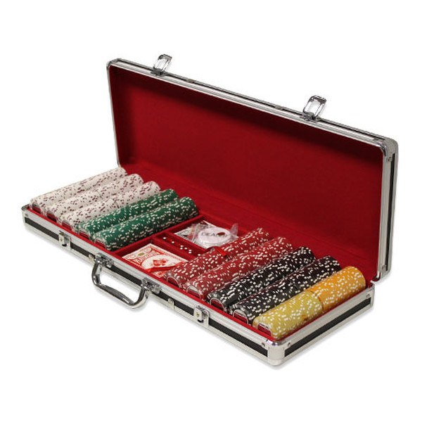 500 Coin Inlay Poker Chip Set with Black Aluminum Case