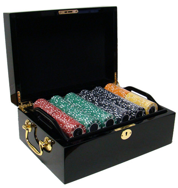 500 Coin Inlay Poker Chip Set with Black Mahogany Case