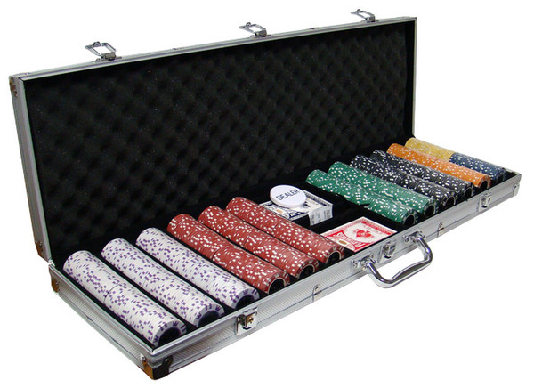 600 Coin Inlay Poker Chip Set with Aluminum Case