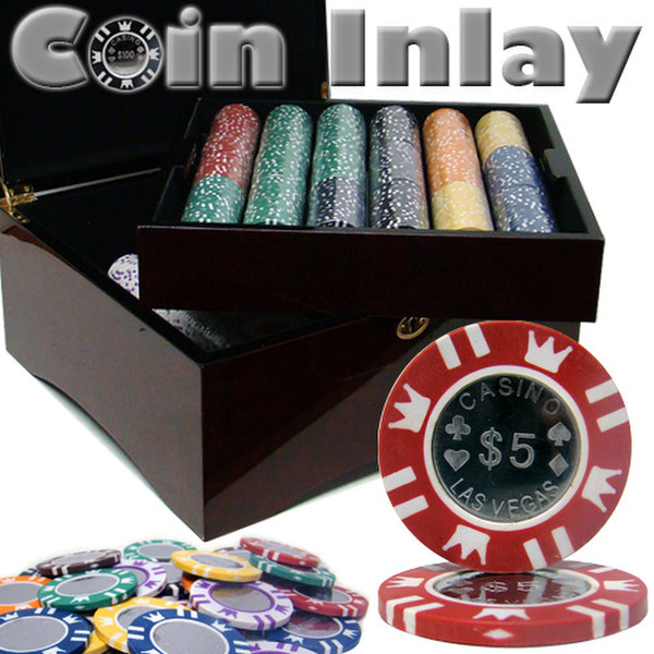750 Coin Inlay Poker Chip Set with Mahogany Case