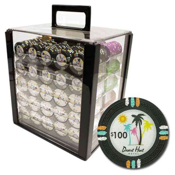 1,000 Desert Heat Poker Chip Set with Acrylic Carrying Case