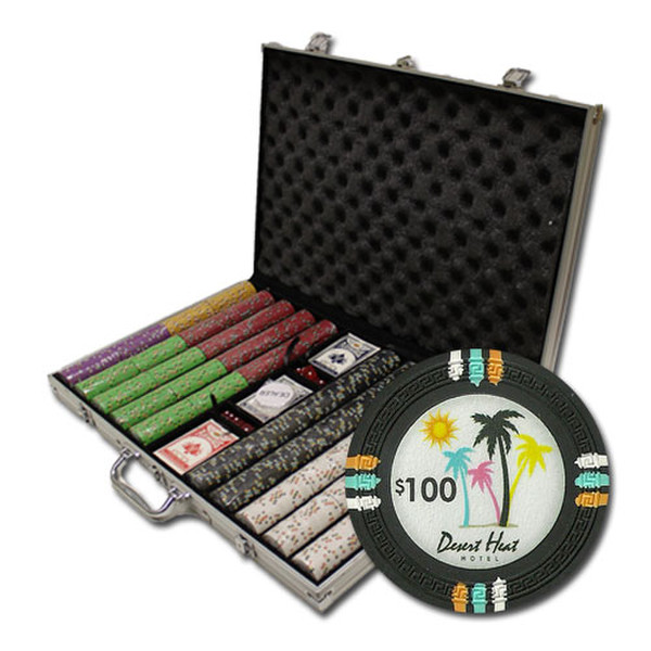1,000 Desert Heat Poker Chip Set with Aluminum Case