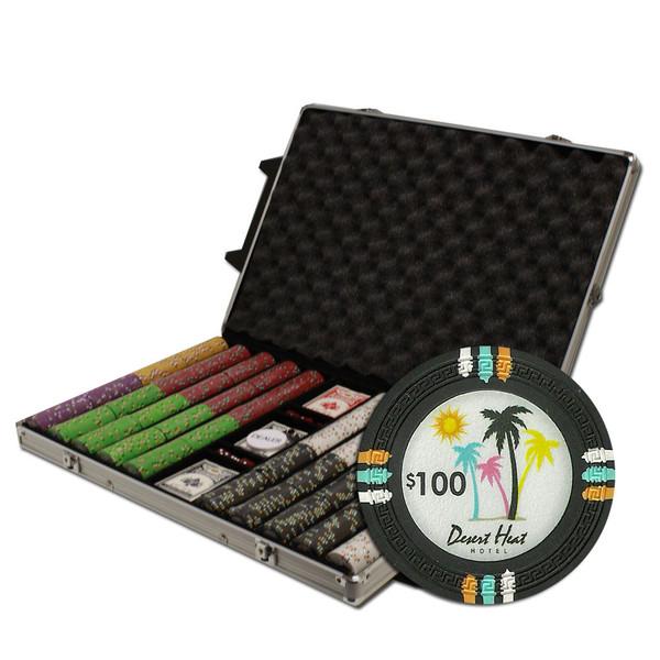 1,000 Desert Heat Poker Chip Set with Rolling Case
