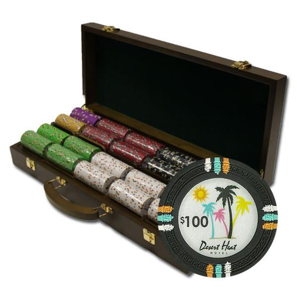 500 Desert Heat Poker Chip Set with Walnut Case