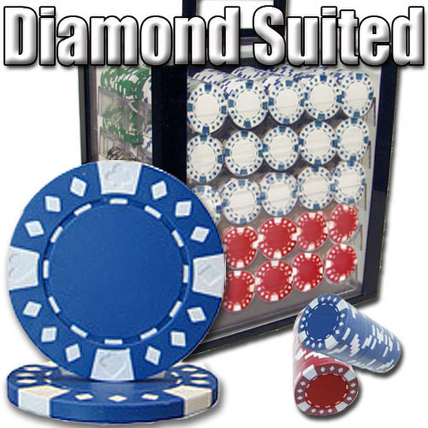 1,000 Diamond Suited Poker Chip Set with Acrylic Carrying Case