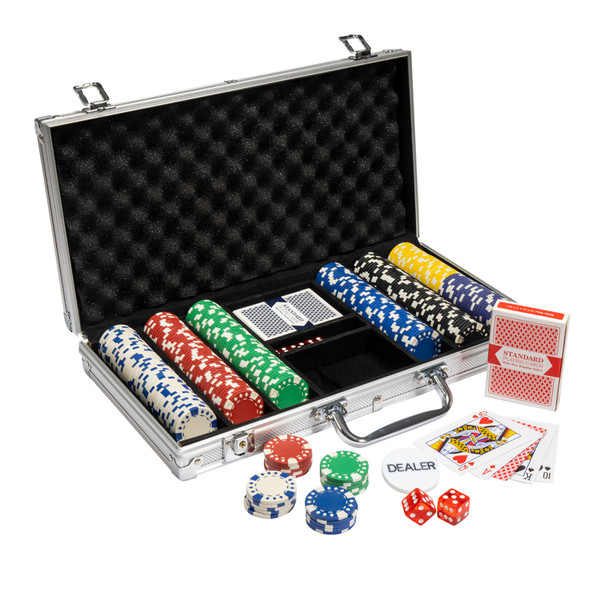 300 Diamond Suited Poker Chip Set with Aluminum Case