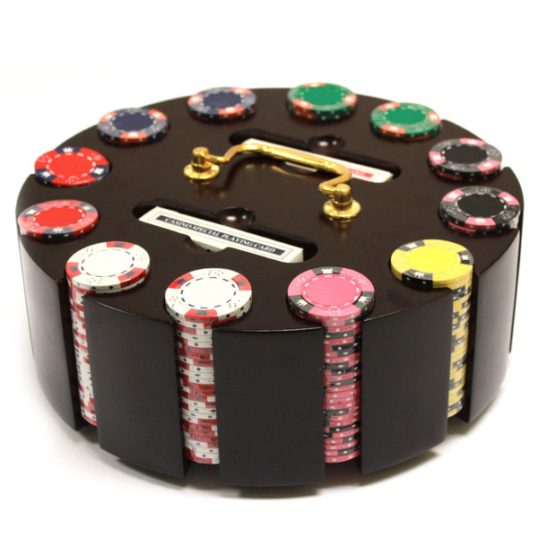 300 Diamond Suited Poker Chip Set with Wooden Carousel