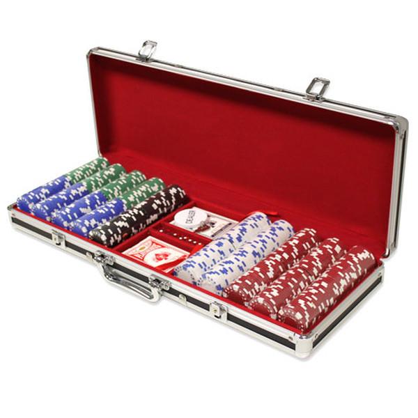 500 Diamond Suited Poker Chip Set with Black Aluminum Case