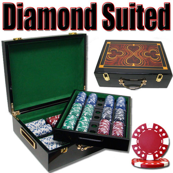 500 Diamond Suited Poker Chip Set with Hi Gloss Case